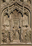 Milan - detail from main bronze gate - Marriage of the Virgin Mary Royalty Free Stock Images