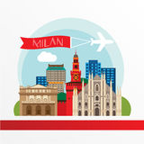 Milan detailed silhouette. Trendy vector illustration, flat style. Stylish colorful  landmarks. Milan Cathedral and La Scala - The Royalty Free Stock Photo