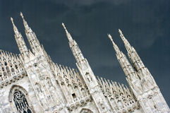 Milan dome. A view of the Dome of Milan under a storm Royalty Free Stock Photos