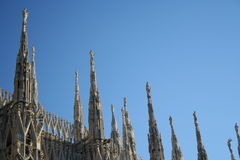 Milan Dome Detail. The gothic roof detail at the cathedral in Milan Royalty Free Stock Photos