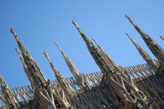 Milan Dome Detail. The gothic roof detail at the cathedral in Milan Stock Photo