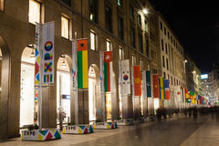 Milan downtown by night Royalty Free Stock Photography