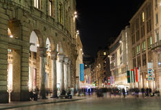 Milan downtown by night stock photography