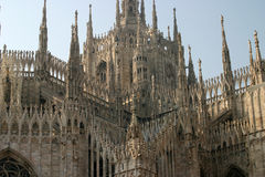 Milan Duomo. Milans famous Duomo cathedral dating back to the 13th century with gothic spires royalty free stock photos