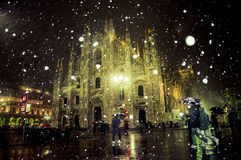Milan Duomo (Cathedral) with snow. The cathedral of Milan when it is snowing at night Royalty Free Stock Photos