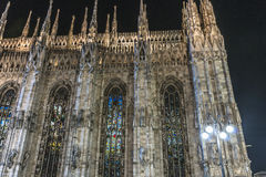 Milan - Duomo. Details the façade of Cathedral in the old centre of Milano at night , Italy , Europe stock photos