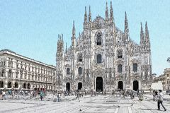 Milan Duomo drawing, Milan, Italy. Drawing of Milan Duomo, the main cathedral in town, and Duomo square royalty free stock photos