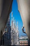Milan - Duomo från taket Royaltyfria Foton