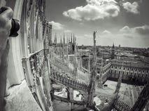 Milan duomo. Gopro black white duomo milan italy royalty free stock image