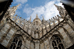 Milan Duomo roof. Angle view Stock Photography