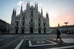 Milan Duomo tijdens zonsopgang Stock Fotografie