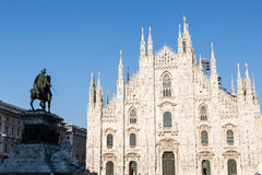 Milan Duomo. A view of Milan Duomo with Vittorio Emanuele II bronze statue Stock Photography
