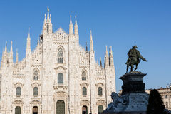 Milan Duomo. A view of Milan Duomo with Vittorio Emanuele II bronze statue Stock Images