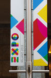 Milan: en flagga av Exfo 2015 Royaltyfri Bild