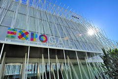 Milan Expo 2015 justo - Expogate y el castillo Imagen de archivo libre de regalías