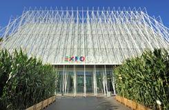Milan Expo 2015 mässa - Expogate och slotten Arkivfoton