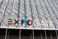 Milan - EXPO 2015 sign on Expo Gate temporary structure Stock Image