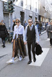 Justin oshea and veronika heilbrunner fashion week in milan. Streetsyle during milan fashion week Stock Photos