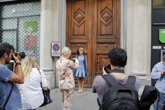 Anna russka Milan fashion week spring summer 2015. Street style photgraphers during milan fashion week royalty free stock image