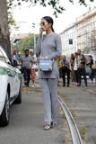 Oksana on Milan fashion week spring summer 2015 Royalty Free Stock Photo