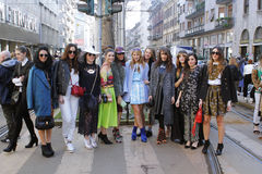 Milan fashion bloggers. Streestyle during milan fashion week Stock Image