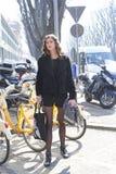 top model Milan fashion week after giorgio armani show Royalty Free Stock Photo