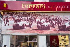 Milan, Ferrari store shop window, in  Liberty sq. Stock Photos