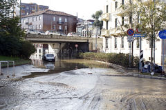 Milan the fiume seveso flood Royalty Free Stock Images