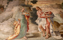 Milan - fresco - Jesus and  Mary of Magdalene Stock Image