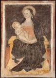 Milan - fresco of virgin Mary stock photos