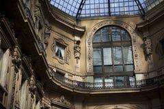 Milan gallery. Milan arcade in the Milan Vittorio Emanuele gallery, close-up on details Royalty Free Stock Photo