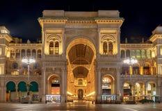 Milan. Gallery of Vittorio Emanuel II at night. Royalty Free Stock Image