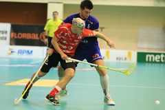 Milan Garcar and Filip Heczko in floorball Royalty Free Stock Images