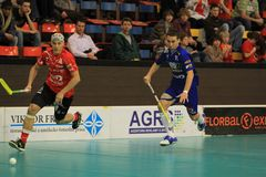 Milan Garcar and Vit Hruby in floorball Royalty Free Stock Photo