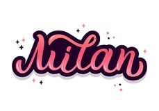 Milan hand lettering. Milan - trendy hand lettering with bright colors. Isolated on white background. Greetings for t-shirt, mug, card, logo, tag, banner Royalty Free Stock Photography