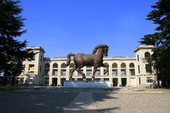Milan hippodrome with statue. View of hippodrome in Milan, Italy, with Leonardo da Vinci's horse statue in front Royalty Free Stock Images