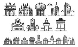 Milan icons set, outline style vector illustration