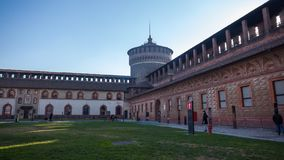 12 12 2017; Milan Italia - Sforza slottsikt i Milan italienare Royaltyfria Bilder