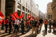 Milan, Italian Liberation Day political protest Royalty Free Stock Photo
