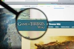 Milan, Italie - 10 août 2017 : Jeu de site Web de wikia de trônes ho Images libres de droits