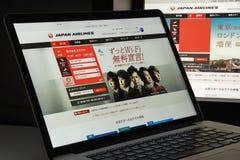 Milan, Italie - 10 août 2017 : Page d'accueil de site Web de JAL Il est Images stock