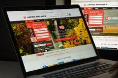 Milan, Italie - 10 août 2017 : Page d'accueil de site Web de JAL Il est Photos stock