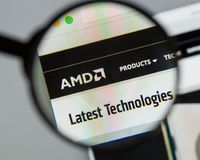 Milan, Italie - 10 août 2017 : Site Web d'Advanced Micro Devices image stock