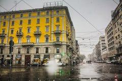 Milan, Italie - 1er mars 2018 Rues de Milan dans la neige Photo stock