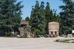 Milan, Italie Point de repère célèbre - le cimetière monumental Cimitero Monumentale Photographie stock libre de droits