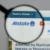 Milan Italien - Augusti 10, 2017: Allstate websitehomepage Det är Arkivbilder
