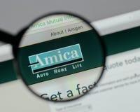 Milan Italien - Augusti 10, 2017: H för website Amica för ömsesidig försäkring Fotografering för Bildbyråer