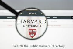 Milan Italien - Augusti 10, 2017: Harvard eduwebsitehomepage Mummel Royaltyfri Fotografi