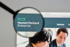 Milan Italien - Augusti 10, 2017: Hewlett Packard företaglogo arkivfoto