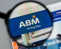 Milan Italien - Augusti 10, 2017: Homepage för ABM-branschwebsite Royaltyfri Fotografi